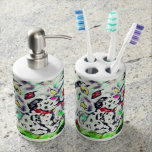 Dalmatian fall art soap dispenser & toothbrush holder