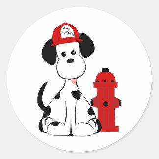 Dalmatian Fire Dog Round Stickers