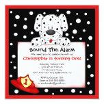 Dalmatian Fireman Birthday Party 5.25x5.25 Square Paper Invitation Card