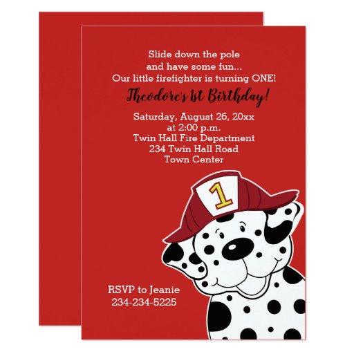 Dalmatian Fireman Boy Birthday Invitations
