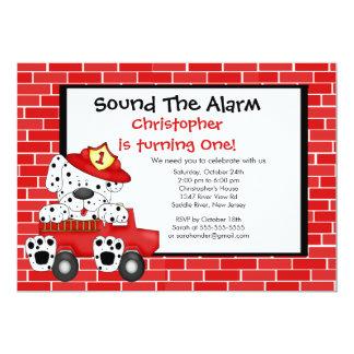 Dalmatian Fireman Fire Truck Birthday Party Card