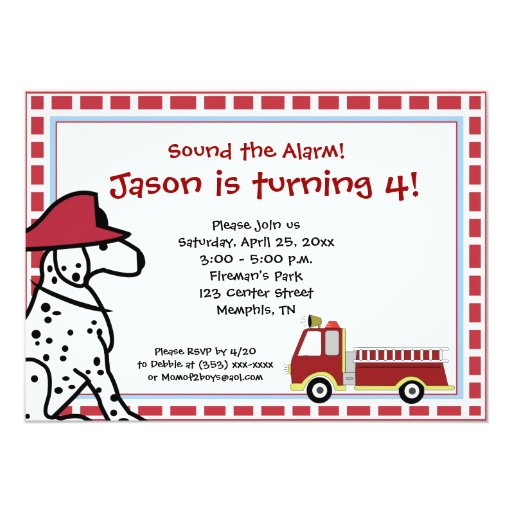 Dalmatian & Firetruck Birthday Invitation