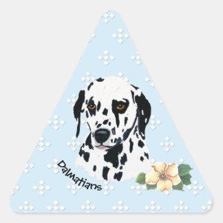 Dalmatian Floral on Blue with White Diamonds Triangle Sticker
