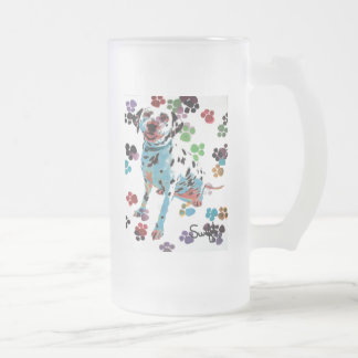 Dalmatian Frosted Glass Beer Mug
