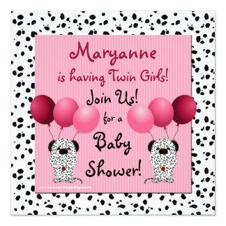 Dalmatian gemelo del rosa de la invitación de la