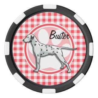 Dalmatian; Guinga roja y blanca Juego De Fichas De Póquer