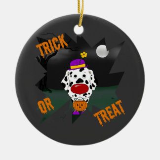 Dalmatian Halloween Clown Ceramic Ornament
