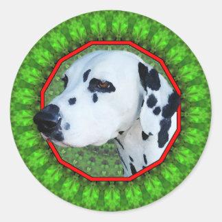 Dalmatian Happy Howliday Round Stickers