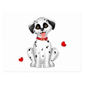 Dalmatian hearts postcard