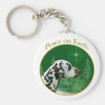 Dalmatian (liver) Peace Basic Round Button Keychain