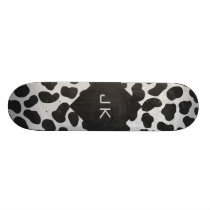 Dalmatian Monogrtam Black and White Prints Skateboard