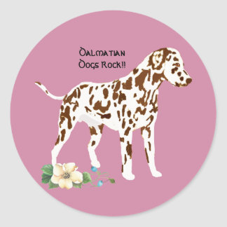 Dalmatian, on Mauve with floral Classic Round Sticker