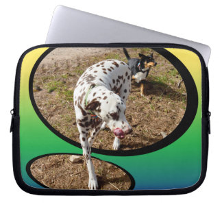 Dalmatian_On_Pastels_3d_Effect_10in_Laptop_Sleeve. Computer Sleeve