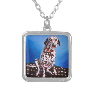 Dalmatian on spotty cushion 2011 silver plated necklace