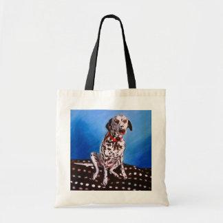 Dalmatian on spotty cushion 2011 tote bag