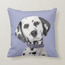 Dalmatian Painting - Cute Original Dog Art Throw Pillow