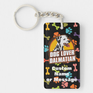 Dalmatian Paw Bones Dog Breed Lover Custom Name Keychain