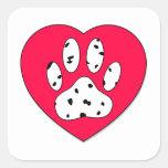 Dalmatian Paw Print In Red Heart Square Sticker