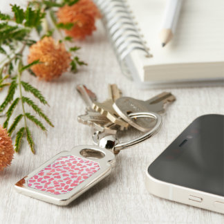 Dalmatian Pink and White Print Keychain