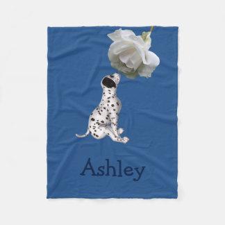 Dalmatian Puppy And Rose Animal Pattern Fleece Blanket