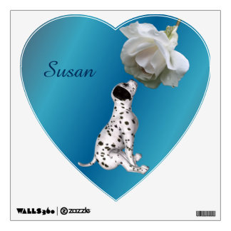 Dalmatian Puppy And Rose Personalized Wall Skins