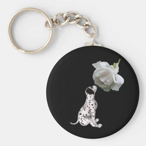 Dalmatian Puppy And White Rose Keychain