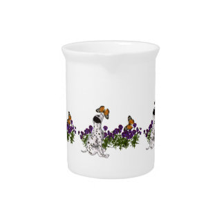 Dalmatian Puppy Butterflies And Flowers Beverage Pitcher