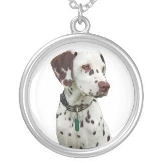 Dalmatian puppy dog necklace, gift idea round pendant necklace