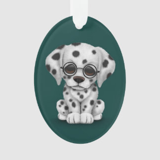 Dalmatian Puppy Wearing Reading Glasses, teal Ornament