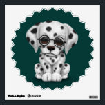 """Dalmatian Puppy Wearing Reading Glasses, teal Wall Decal<br><div class=""""desc"""">This cute design features a small dalmatian puppy dog with large black eyes. The dog is sitting down with its paws beside each other and is looking forward with its head slightly tilted to one side. The over sized head and small body along with the details in the fur create...</div>"""