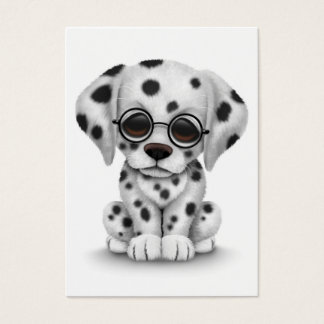 Dalmatian Puppy Wearing Reading Glasses, white Business Card