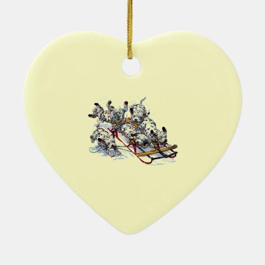Dalmatian Pups Sledding Ceramic Ornament