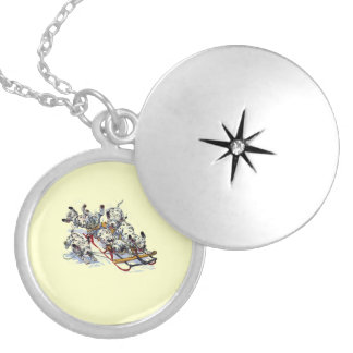 Dalmatian Pups Sledding Locket Necklace