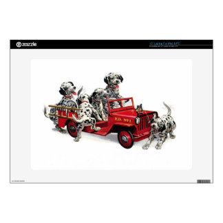 """Dalmatian Pups with Fire Truck Skin For 15"""" Laptop"""