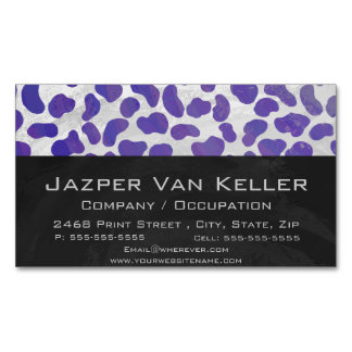 Dalmatian Purple and White Print Business Card Magnet