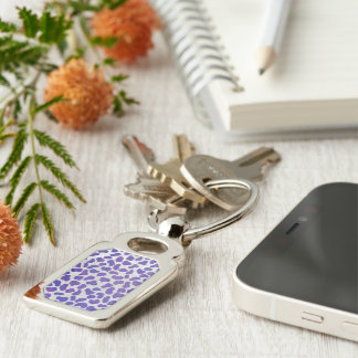 Dalmatian Purple and White Print Keychain