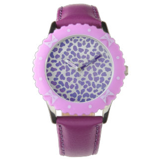 Dalmatian Purple and White Print Wrist Watches