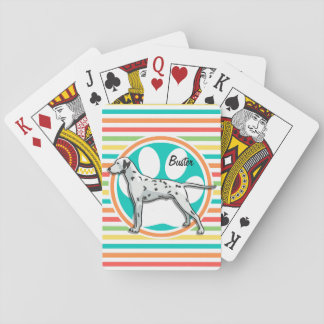 Dalmatian; Rayas brillantes del arco iris Cartas De Póquer