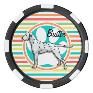 Dalmatian; Rayas brillantes del arco iris Fichas De Póquer