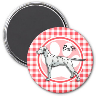 Dalmatian; Red and White Gingham 3 Inch Round Magnet
