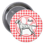 Dalmatian; Red and White Gingham Button