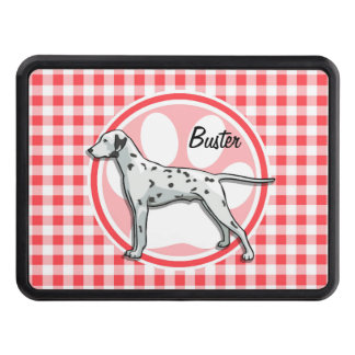Dalmatian; Red and White Gingham Trailer Hitch Cover