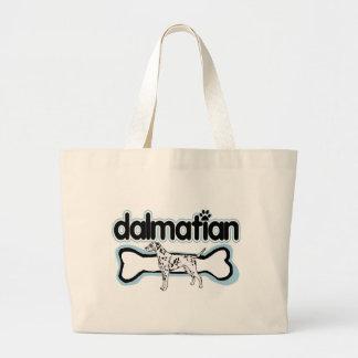 dalmatian Silhouette Dog bone Large Tote Bag