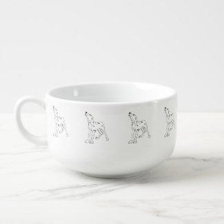 Dalmatian Soup Bowl With Handle