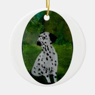 Dalmatian Spotty Dog Art Ceramic Ornament