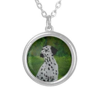 Dalmatian Spotty Dog Art Round Pendant Necklace