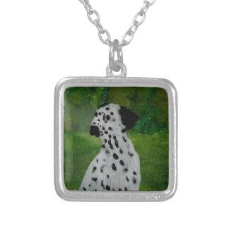 Dalmatian Spotty Dog Art Square Pendant Necklace