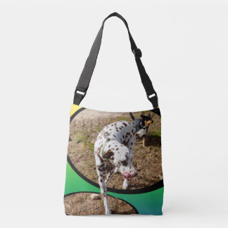 Dalmatian Stepping Out Of Window Frame, Crossbody Bag