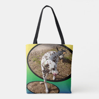Dalmatian Stepping Out Of Window Frame, Tote Bag