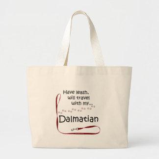 Dalmatian Travel Leash Large Tote Bag